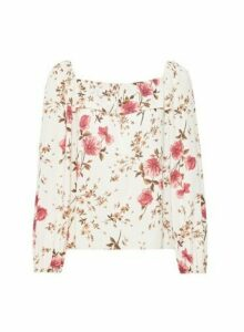 Womens Ivory Floral Print Frill Front Bardot Top, Ivory