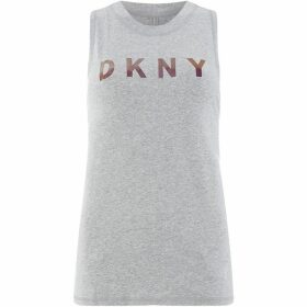 DKNY Rose gold chameleon logo tank top