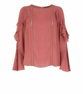 Rust Lattice Panel Frill Sleeve Blouse New Look