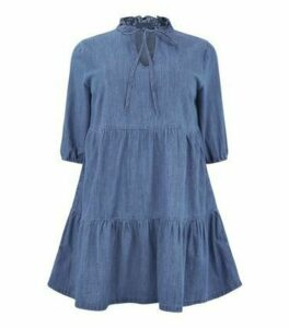 Curves Blue Tiered Denim Smock Dress New Look