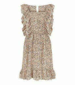 AX Paris Stone Spot Frill Trim Mini Dress New Look