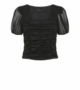 Black Mesh Ruched Square Neck Top New Look