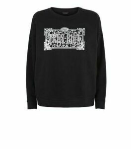 Black Très Bien Slogan Leopard Print Sweatshirt New Look