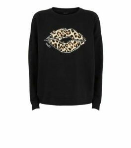 Black Leopard Print Lips Slogan Sweatshirt New Look