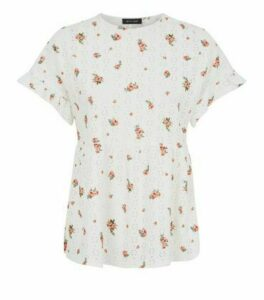White Floral and Spot Peplum Top New Look