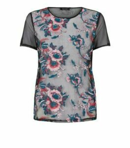 Multicoloured Floral Embroidered Mesh Top New Look