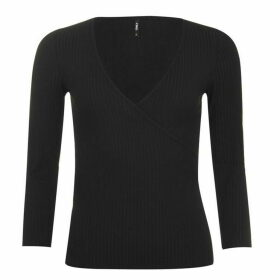 Only Nella Wrap Top - Black