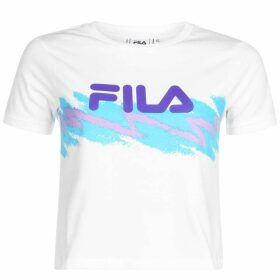 Fila Line Crop T Shirt Ladies - White