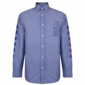 CHAMPION X BEAMS Logo Long Sleeved Shirt - Navy