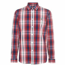 Lacoste Long Sleeves Poplin Checked Shirt - Navy LYA