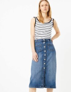 M&S Collection Denim Button Detailed Midi Skirt