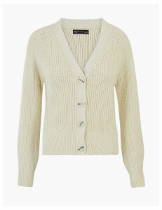 M&S Collection Pure Cotton Ribbed Raglan Cardigan