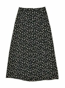 Womens Petite Black Zoe Ditsy Button Down Maxi Skirt, BLACK