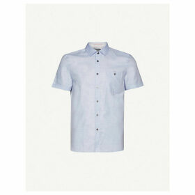 Short-sleeved cotton and linen-blend shirt