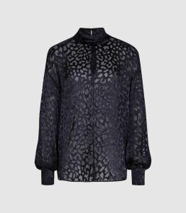 Reiss Thelma - Silk Blend Burnout Pattern Blouse in Navy, Womens, Size 16