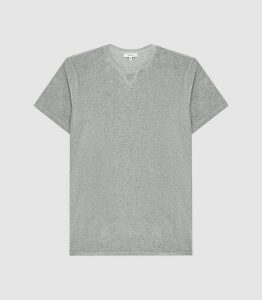 Reiss Kingsland - Towelling Crew Neck T-shirt in Soft Grey, Mens, Size XXL