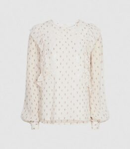 Reiss Alice - Floral-print Ruffle Blouse in Cream, Womens, Size 16