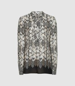 Reiss Malia - Printed Blouse in Black, Womens, Size 16
