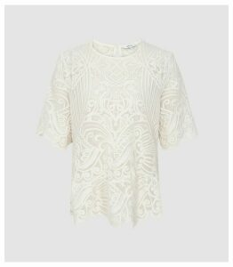 Reiss Melania - Lace Top in Ivory, Womens, Size 14