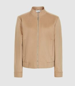 Reiss Calia - Wool Blend Bomber Jacket in Camel, Womens, Size 14