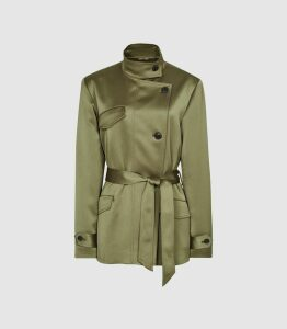 Reiss India - Satin Jacket in Khaki, Womens, Size 14
