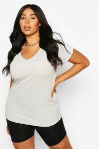 Womens Plus Basic Rib Oversized T-Shirt - Grey - 20, Grey