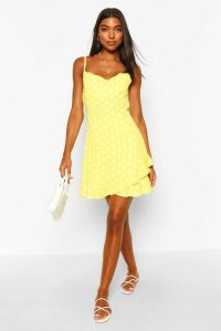 Womens Tall Polka Dot Ruffle Slip Dress - Yellow - 10, Yellow