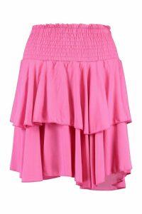 Womens Tall Shirred Tiered Ruffle Skater Skirt - Pink - 18, Pink