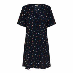 Short Graphic Print Dress with Short Sleeves