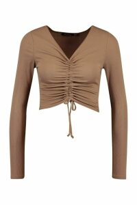 Womens Tall Basic Rib Ruched Front Crop Top - Beige - 12, Beige