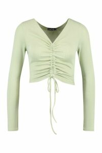 Womens Tall Basic Rib Ruched Front Crop Top - Green - 18, Green