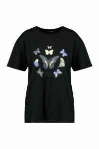 Womens Tall Butterfly Slogan T-Shirt - Black - M, Black