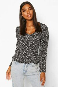 Womens Tall Woven Ditsy Floral Sweetheart Neck Top - Black - 8, Black