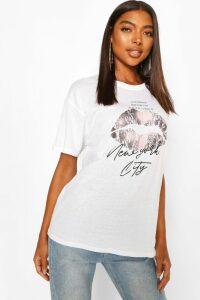 Womens Tall 'New York' Lips Oversized T-Shirt - White - S, White