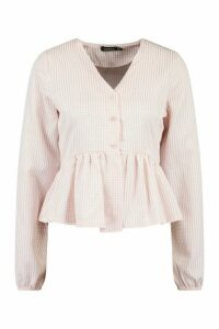 Womens Tall Gingham Woven Peplum Top - Pink - 18, Pink