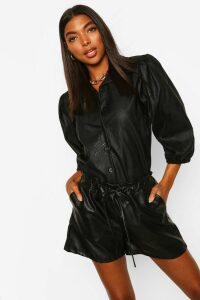Womens Tall Pu Faux Leather Puff Sleeve Shirt - Black - 18, Black