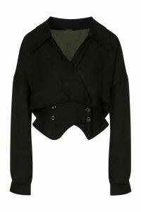 Womens Tall Woven Tux Detail Wrap Blouse - Black - 8, Black