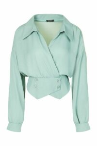 Womens Tall Woven Tux Detail Wrap Blouse - Green - 8, Green