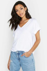 Womens Tall V-Neck Oversized T-Shirt - White - 12, White