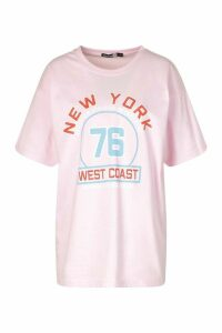 Womens Tall 'New York West Coast' Oversized T-Shirt - Pink - M, Pink