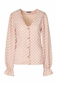 Womens Tall Woven Polka Dot V-Neck Blouse - Pink - 18, Pink