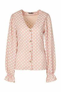 Womens Tall Woven Polka Dot V-Neck Blouse - Pink - 18, Pink