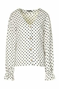 Womens Tall Woven Polka Dot V-Neck Blouse - White - 18, White
