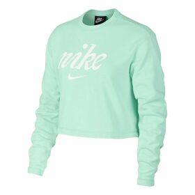Cropped Cotton Sweatshirt with Logo Print
