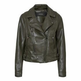 Short Faux Leather Biker Jacket with Pockets
