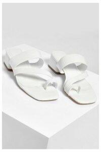 Womens Low Block Toe Post Mules - White - 8, White