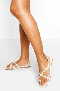 Womens Cross Strap Basic Sandals - White - 8, White