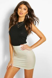 Womens Basic Jersey Mini Skirt - Beige - 10, Beige