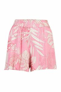 Womens Palm Print Jersey Flippy Shorts - Pink - 16, Pink