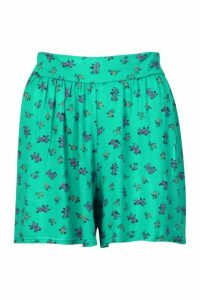 Womens Ditsy Floral Jersey Flippy Shorts - Green - 8, Green